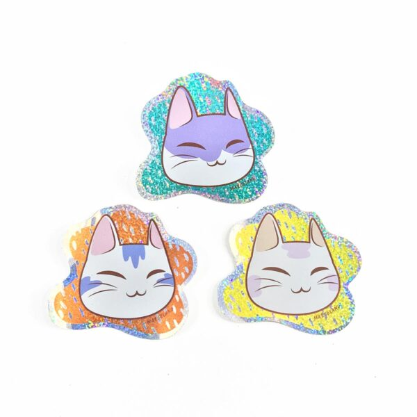 Pack stickers gatitos holográficos