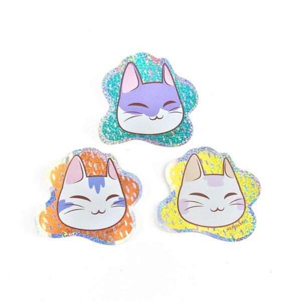 Pack stickers gatitos holográficos
