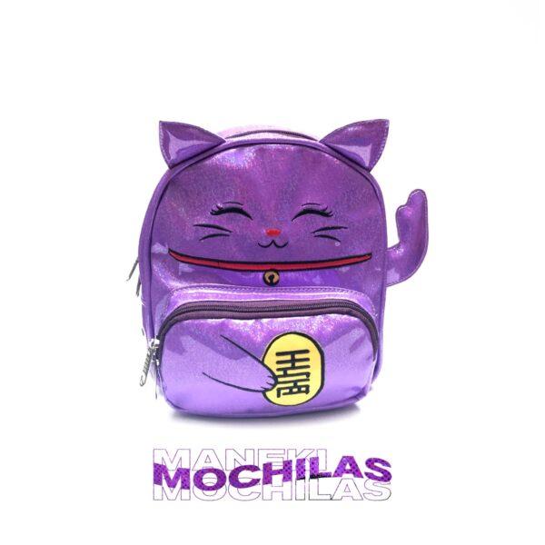 Maneki mochila violeta espejo brillantina